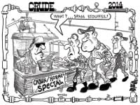 Oilman Cartoon –  GOM Cutting Platform Maintenance Cost with SPAM