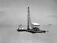 Harvey, LA. Barge Getting Ready to Drive a Few Pilings…1950s
