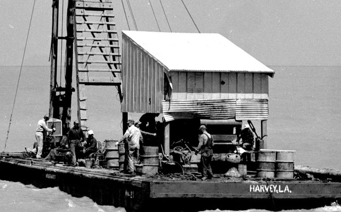 Harvey-La.-Barge-getting-ready-to-drive-a-few-pilings…-1950's_UPCLOSE1