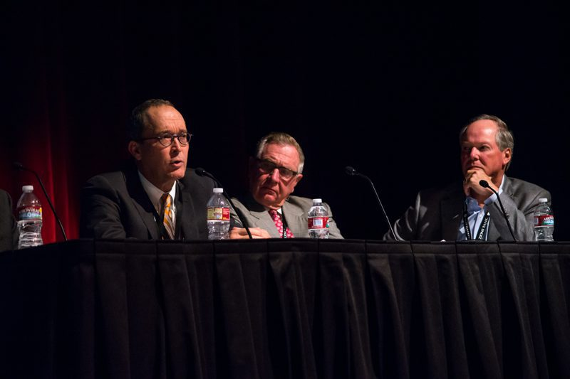Matthew D. Cabell (left), Jerry Moyes (middle) and Ron Jipson (right) participate on a Natural Gas panel  at the Rocky Mountain Energy and Infrastructure Summit in Jackson Hole, Wy. (right)