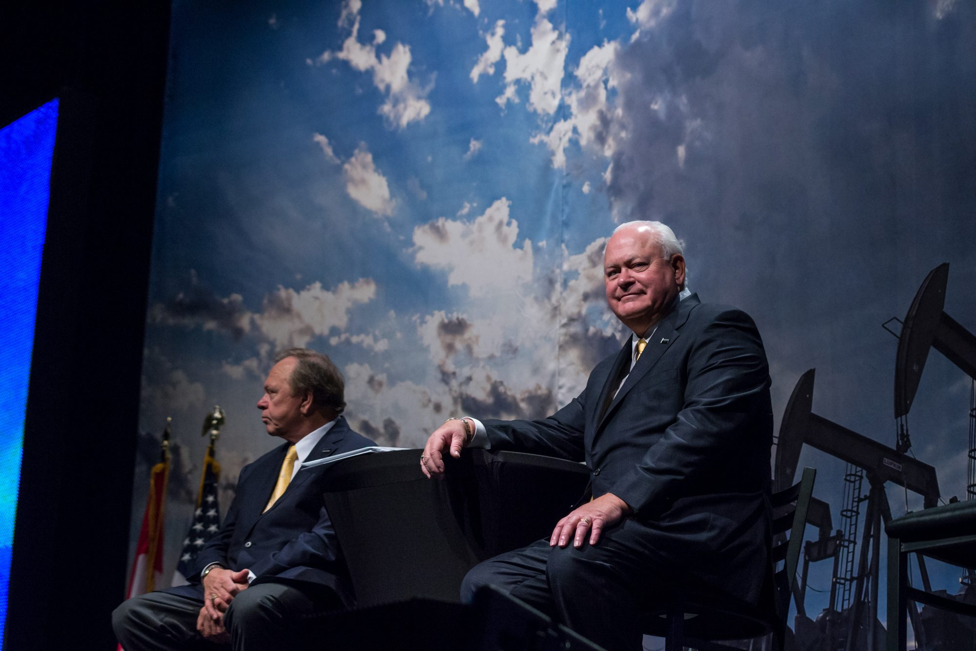 Harold Hamm (left) CEO, Continental Resources and Jim Volker (right) CEO, Whiting Petroleum participate together on a panel discussion at the Williston Basin Petroleum Conference