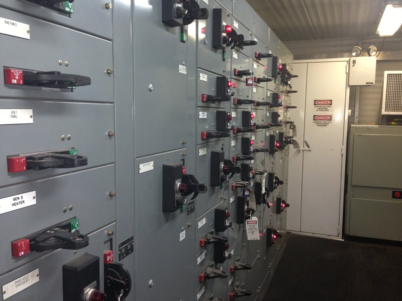 On site electrical room – A look at one of several walls of electrical circuits and breakers