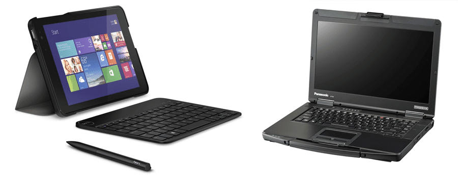 Left: The Dell Venue Right: The Panasonic Toughbook