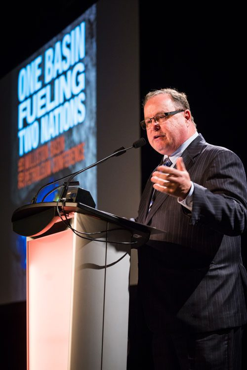 Bill Boyd, Minister of the Economy, Saskatchewan, gives Wednesday's keynote at the Williston Basin Petroleum Conference in Regina, Saskatchewan.