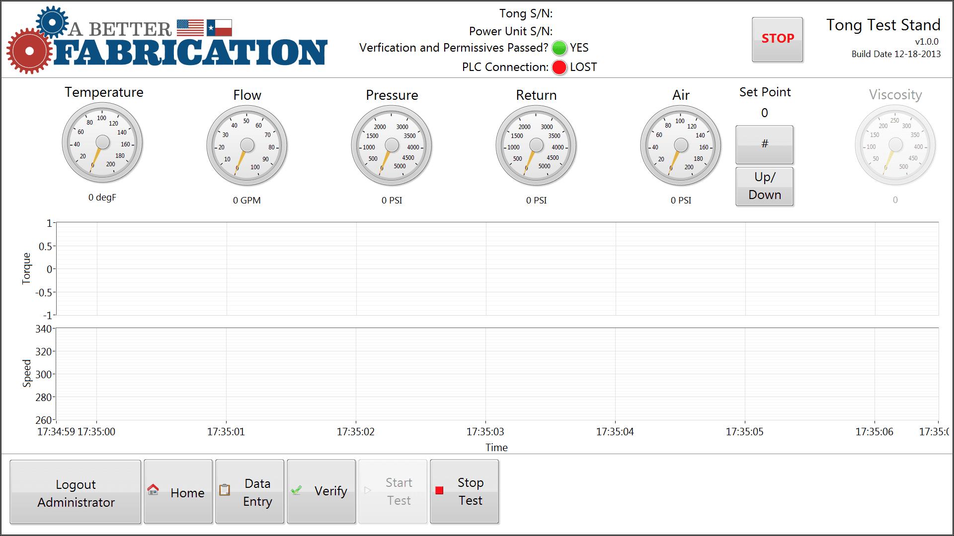 Start test screen shot on operations panel