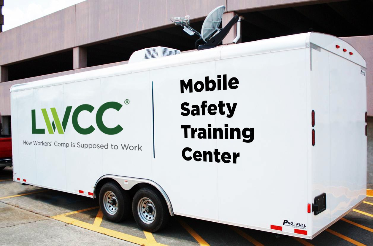 The LWCC Mobile Safety Training Center travels to policyholders, offering training and educational courses administered by an LWCC loss prevention team member. Photo courtesy of LWCC