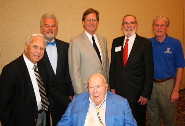 The Energy Advocates Legacy Luncheon presented by The University of Tulsa's School of Energy Economics, Policy, & Commerce, honoring founding members, (left to right), Robert Parker, Sr., (Honoree) Mark A. Stansberry, (Keynote Speaker), Mayor Dewey F. Bartlett, Jr., (Presenter), Frederic Dorwart, (Honoree), Dr. Tim Coburn, (Host, University of Tulsa) seated-Robert Thomas, (Honoree)