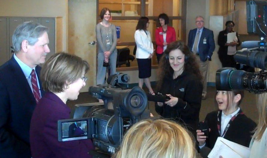 Otis interviewing U.S. Senator John Hoeven and Amy Klobuchar