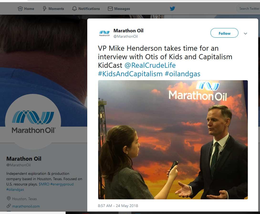 Otis interviewing Mike Henderson, Vice President, Marathon Oil