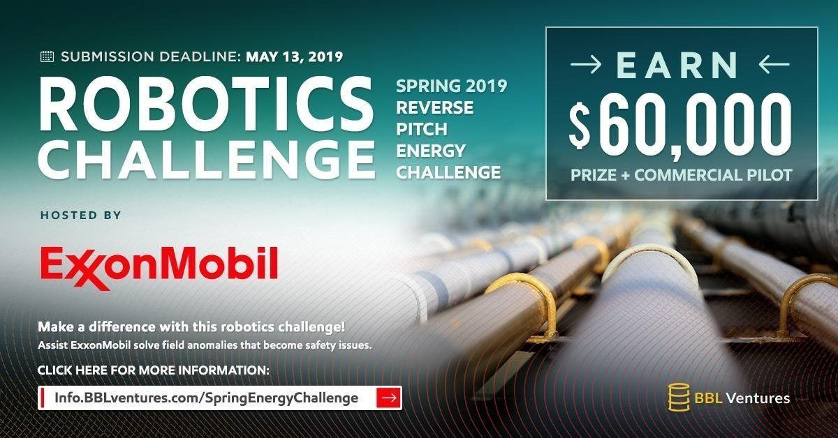 BBL Ventures Opens Robotics Reverse Pitch Contest for ExxonMobil