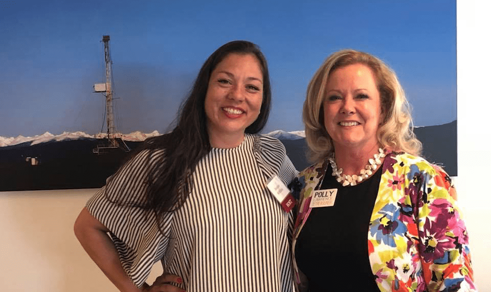Destenie McMillen and Colorado House of Representative Polly Lawrence at an energy industry meeting