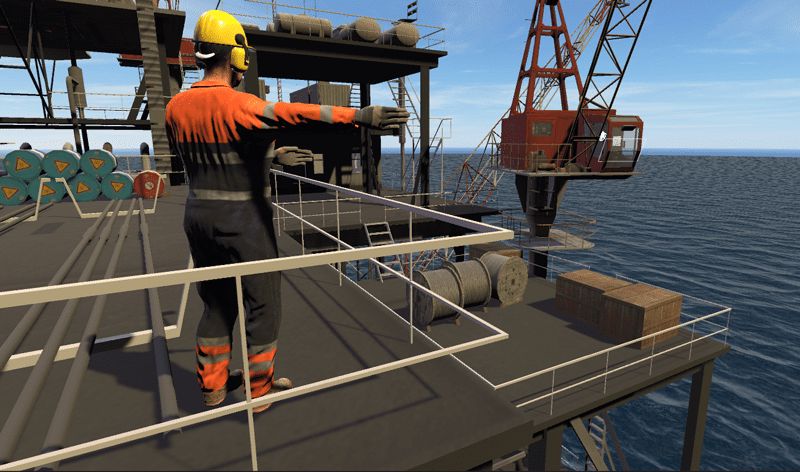 Internal, intelligent Riggers provide Artificial Intelligence real time directional signals to VR Crane operators