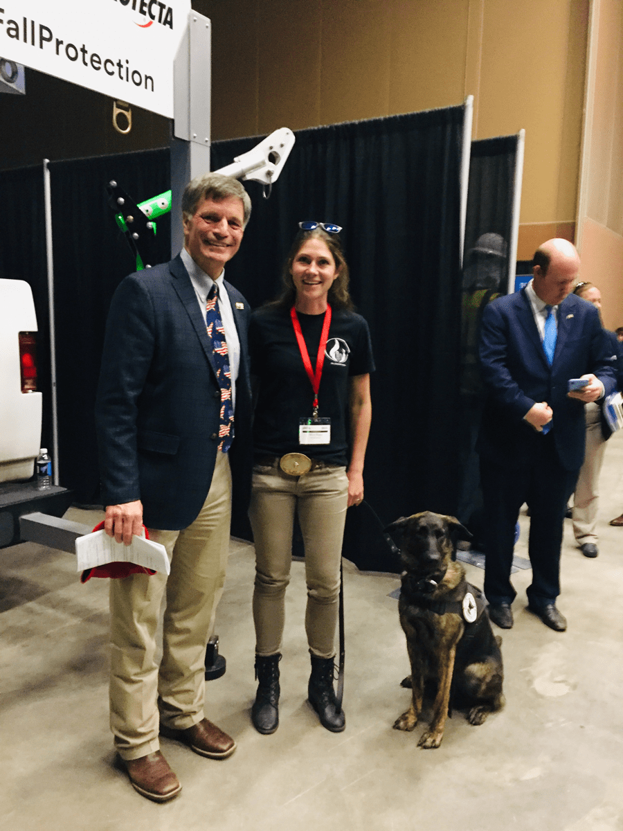 WY Governor Mark Gordon, Micheala Hager, K9 Pipe Inspections and leak detector dog Yara