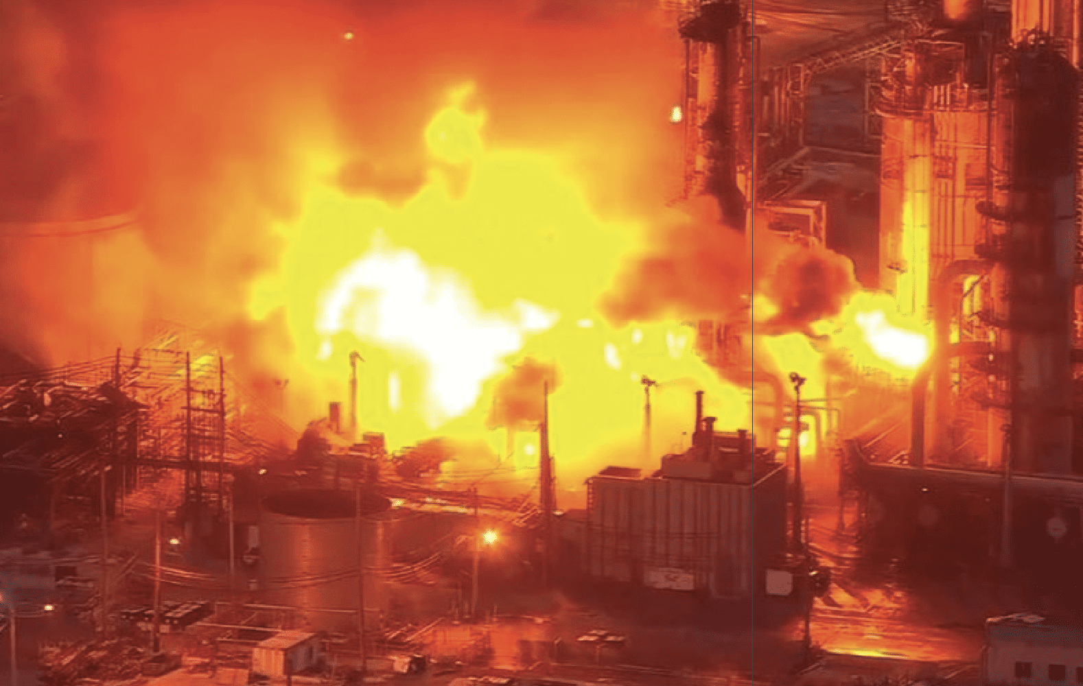 A massive fire burns at Philadelphia Energy Solutions Inc's oil refinery in this still image from video in Philadelphia, Pennsylvania, June 21, 2019. WCAU-TV/NBC via REUTERS
