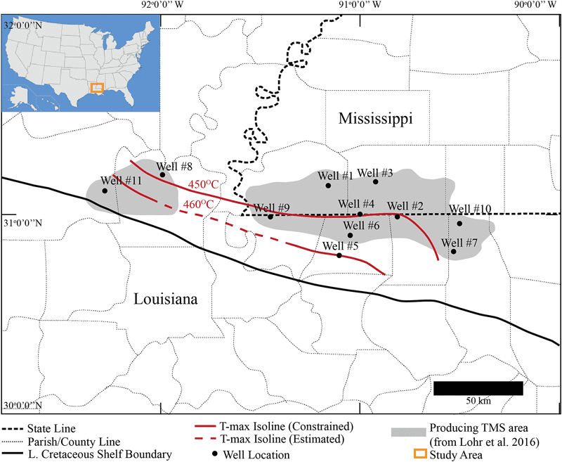 Map of the Tuscaloosa Marine Shale study region and well locations. Graph courtesy of University of Louisiana – Lafayette, Tuscaloosa Marine Shale Laboratory