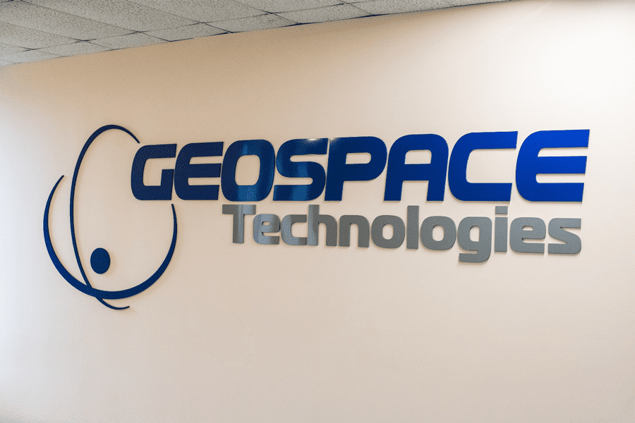 The GeoSpace Technologies logo in entrance.