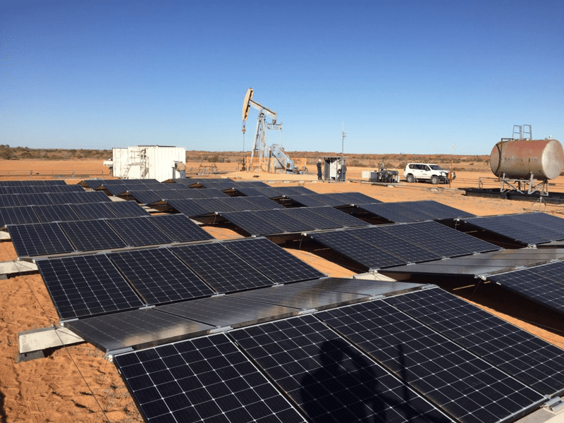 Extracting oil in the Cooper Basin using solar PV and battery storage to power the beam pump. Photo courtesy of Santos - PV Magazine