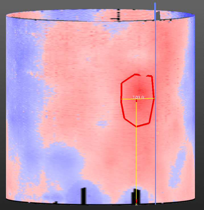 An inspection uses color coding (heat maps) to reveal bulges or deformation in a tank shell. The dimensions of the region may be measured directly form the scanning data.