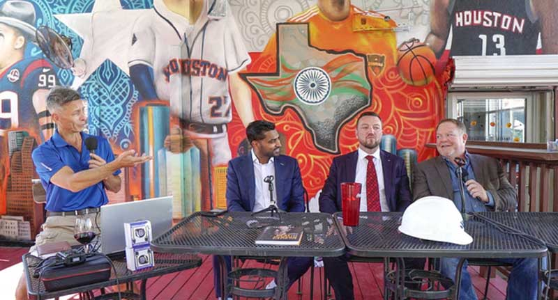 Living the Crude Life live recording session at Cowboys and Indians restaurant in Houston, TX. Host Jason Spiess (left), interviewees Imran Khan (middle left), Brandon Davis (middle right) and Jeremy Pate of Swan Energy about Mining Money.