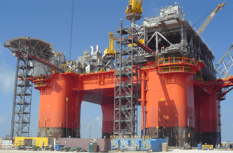 Offshore platform under construction. Flushing services occur at this stage and then on the commissioning side afterwards.