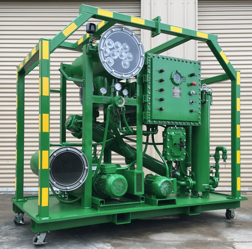 Depicted is a vacuum dehydrator. Offshore work falls under the regulations of the American Petroleum Institute (API). Equipment, including vacuum dehydrators, must meet the requirements of API Recommended Practice 14C.