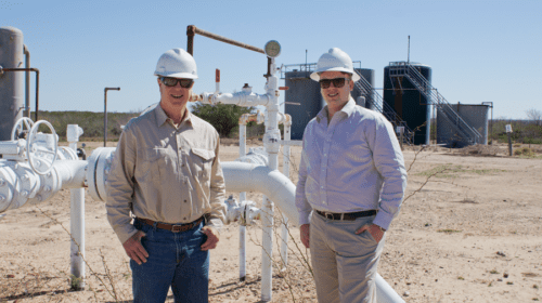 Managing Partner of Killam Companies, David Killam (L), and son, Cliffe Killam, inspecting a well site in South Texas. Photo courtesy of Mariajose Velasquez.