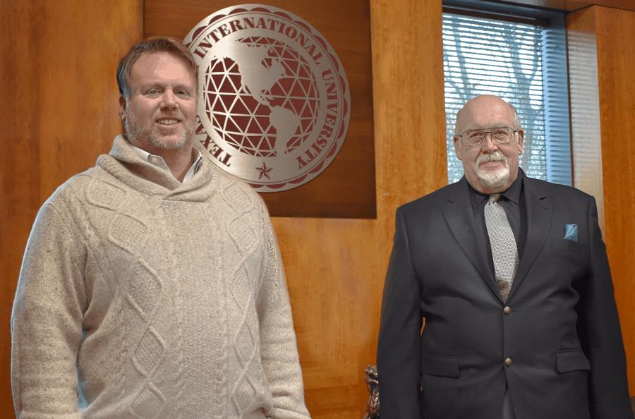 President and Partner Cliffe Killam (L), Killam Oil & Gas, and President Pablo Arenaz (R), Texas A&M International University (TAMIU). Photo courtesy of Guillermo A. Sosa.
