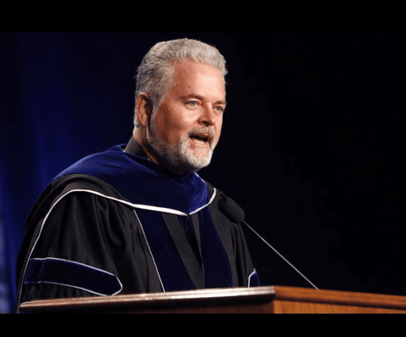 Chairman of the RUSO Regents, Mark Stansberry, delivers the 2015 commencement presentation at the University of Central Oklahoma.