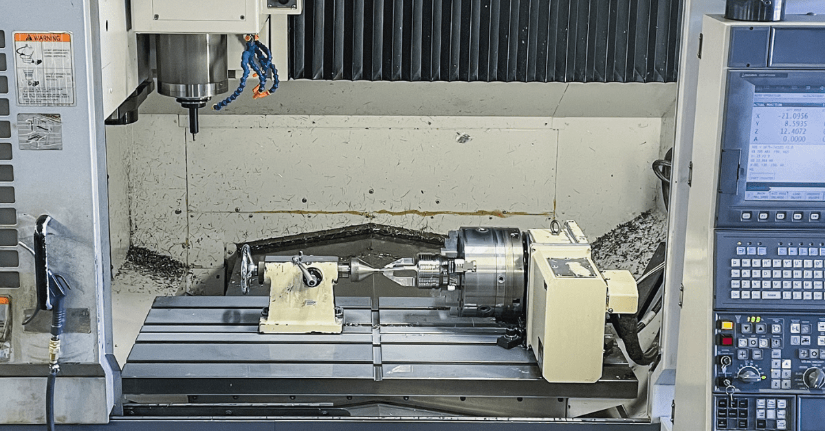 """Machining out the """"cage"""" on one of Cleveland Machine's 718 Inconel Type """"H"""" Style Back Pressure Valves. One of the final operations before the part is completed, this is done on the company's Okuma MB-56VB with the rotary."""