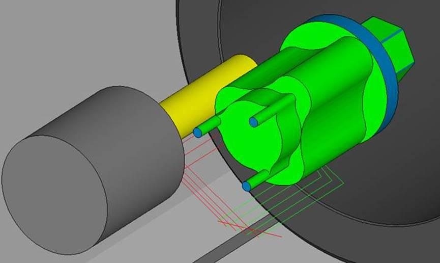 Milling contoured surfaces using the Okuma mill turn, as shown above, would not have been attempted without ESPRIT, says Buckaloo. The software enabled Cleveland Machine to rapidly create a program to produce these one-off parts for a local rancher.