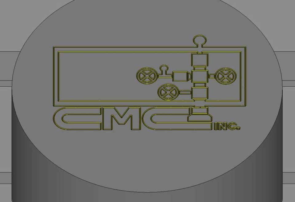 Cleveland Machine Company logo engraving in ESPRIT (above).